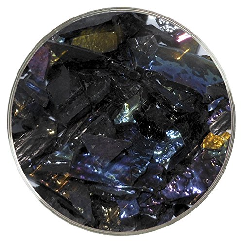 Iridescent Spectrum Stained Glass (Black Iridescent Mosaic Frit - 96COE - 4oz - Made from System 96 Glass)