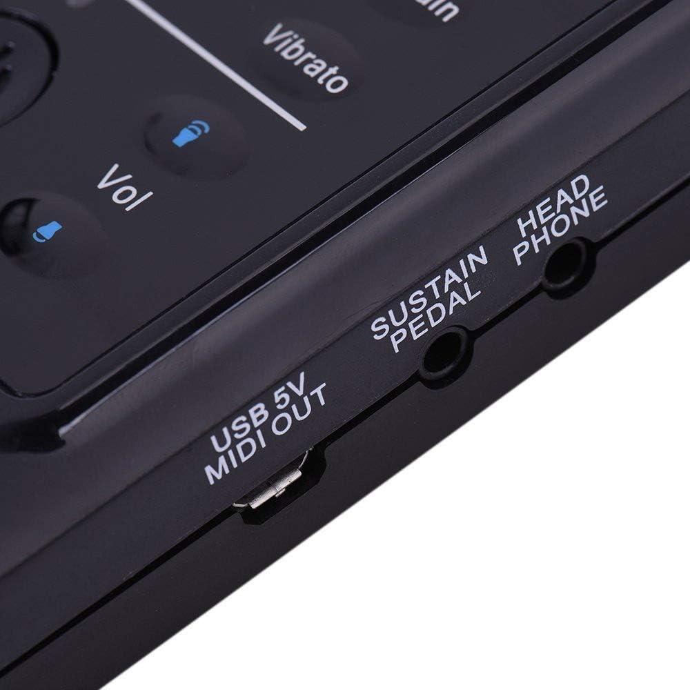 フレキシブルロールアップピアノ 折りたたみ式88厚手キーフレキシブルソフトシリコンエレクトリックデジタルロールアップキーボードピアノ録音付きプログラミングチュートリアルチュートリアルSustain Vibrato機能USB MIDI出力LEDディスプレイ内蔵スピーカーヘッドフォンジャックフットペダル 初心者向け (色 : ブラック, サイズ : Free size)