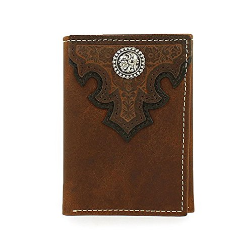 Ariat Men's Oil Scroll Over Top Trifold Western Wallet, Brow