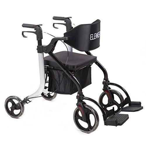 ELENKER Medical Transport Chair Foldable 4 Wheels Rollator Walker with Detachable Footrests