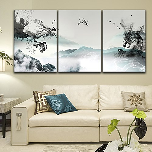 3 Panel Chinese Ink Painting Style Landscape with Dragon Like Ink Splash x 3 Panels