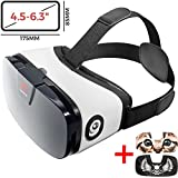 "VR Headset - Virtual Reality Goggles by VR WEAR 3D VR Glasses for iPhone 6/7/8/Plus/X & Samsung S6/S7/S8/S9/Plus/Note and Other Android Smartphones with 4.5-6.3"" Screens + 2 Stickers"