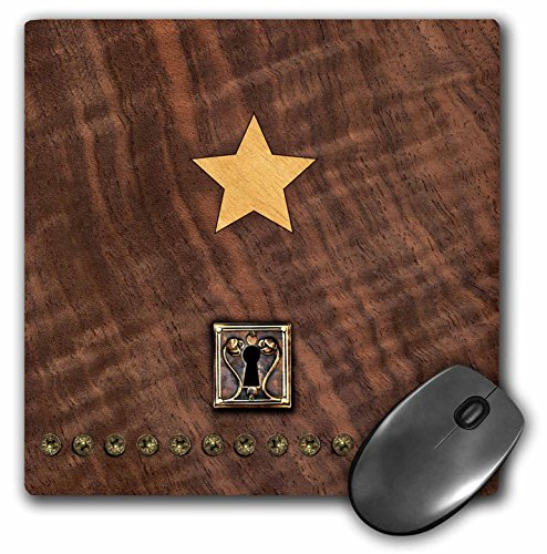 (3dRose Russ Billington Designs - Photo of Wood Veneer Marquetry Heart and Lock - Mousepad (mp_219401_1))