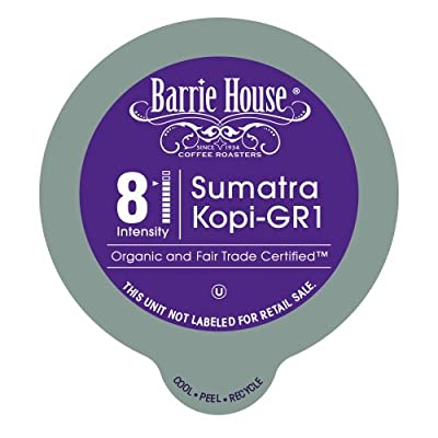 Barrie House Organic & Fair Trade Certified Sumatra Kopi Gr-1 Single Cup Capsules