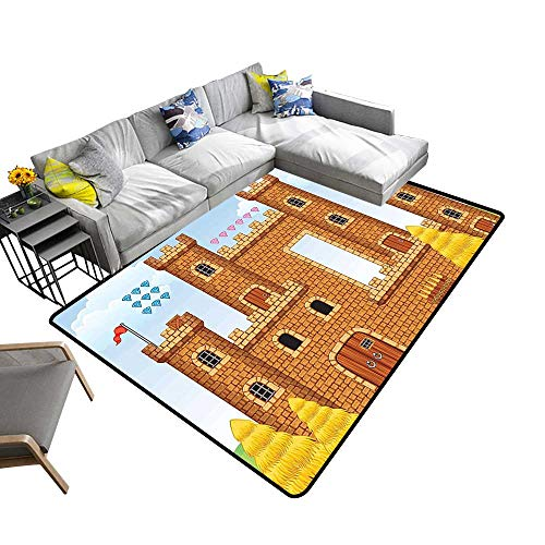Super Cozy Bathroom Rug Carpet Background Castle Leisure Hobby Kids Youth Light Caramel Blue Provides Protection and Cushion for Floors 6' X 9'