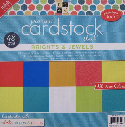 DCWV Premium CARDSTOCK Stack BRIGHTS & JEWELS Pad 48 SHEETS Foiled, Glittered & Textured CARDSTOCK 12