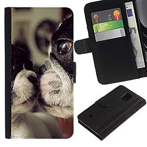 iKiki Tech / Cartera Funda Carcasa - Terrier Dog Mother Love Sweet Cute - Samsung Galaxy S5 Mini, SM-G800, NOT S5 REGULAR!