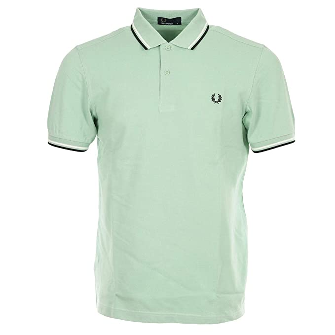Fred Perry Hombres Polo Doble con Punta m3600 H40 Verde ...