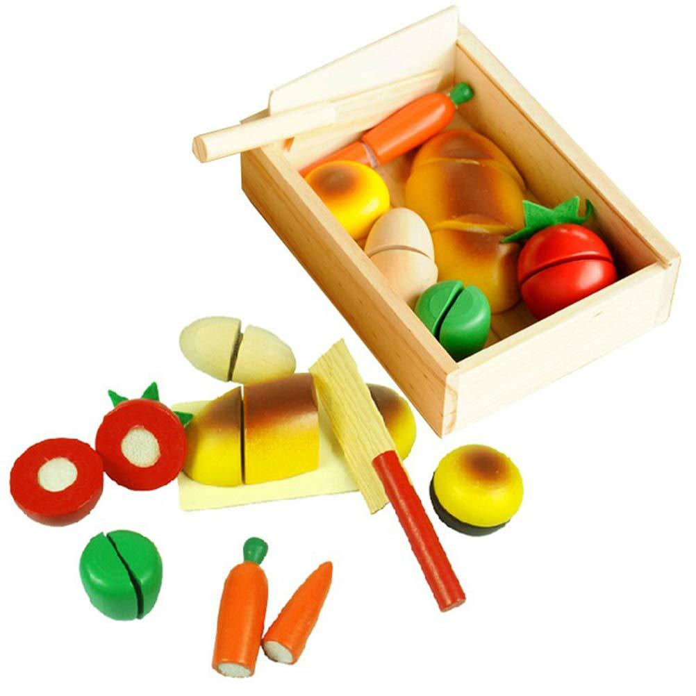 Mallalah Fruits /à Couper Jouet De Cuisine Nourriture en Bois L/égumes /à D/écouper Jeu pour Enfants Jeu Dimitation /éducation Pr/éscolaire