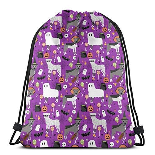 (Pitbull Halloween Dog Breed Costumes Dog_2614 Custom Drawstring Shoulder Bags Gym Bag Travel Backpack Lightweight Gym for Man Women)