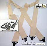 "Holdup Brand USA made 2"" Wide Undergarment Hidden Beige Suspenders in X-back style with Patented no-alarm composite plastic Gripper Clasps"