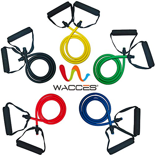 Wacces 5 Resistance Bands with Foam Handle