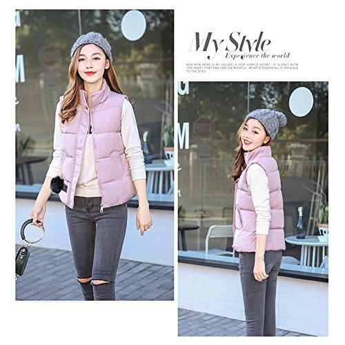 Coat Girls Windproof Vest Autumn XFentech amp; Sleeveless Down Outwear Pink Jacket Women Winter Zipper Hairball Down wTHT8WqBnz