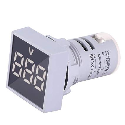 AC20-500V LED Affichage Num/éRique Voltm/èTre Testeur de Tension Carr/éE Lampe Testeur M/èTre Jaune