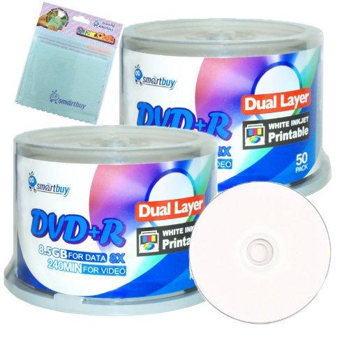 Smartbuy 100-disc 8.5GB/240min 8x DVD+R DL White Inkjet Hub Printable Blank Media Disc + Free Micro Fiber Cloth by Smartbuy