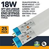 4ft 18W T8 Glass LED Linear Tube - 1800 Lumens, Single End Bypass, 3 Year Warranty IP20 Rated - Frosted - 4000K - (UL Listed) - 25 Pack