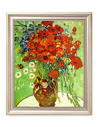 DecorArts - Red Poppies and Daisies, Vincent Van Gogh Art Reproduction. Giclee Print& Framed Art for Wall Decor. 20x16