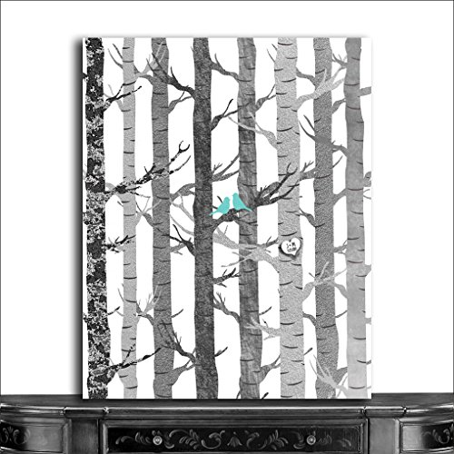 9.5x12 Metal Art Print Personalized Gift For Anniversary Couple Birch Trees Carved Initials Faux Texture Turquoise Birds Tree Forest on White Background Custom Wedding Art (Canvas Wedding Couple)