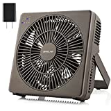 OPOLAR 8 Inch Desk Fan, USB Operated, 4 Speeds+Natural Wind, Timer, Quiet Operation, Personal Table Fan, Seven Blades, Adjustable Angle, Desktop Cooling Fan for Office, Room, Bedroom(Included Adapter)-Brown
