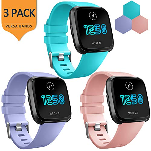 AK Bands Compatible with Fitbit Versa Bands (3 Pack), Soft Replacement Wristband Sports Waterproof Strap for Fitbit Versa Smart Watch Women Men (Large, - Wear Peach