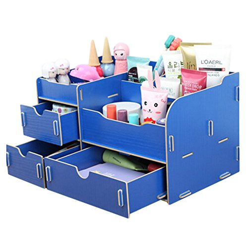 dolly2u Fashion Wooden Make-up Storage Box Cosmetic Display Organizer Walnut Dark Blue by dolly2u