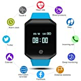 QIMAOO Fitness Tracker Watch Heart Rate Monitor Z66 Smart Watch Bracelet Waterproof Bluetooth IP67 Touchscreen Pedometer with Camera Blood Pressure Unlocked Cell Phone Wrist Watches (Blue)