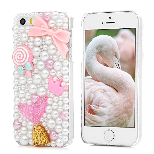iPod Touch 6 Case, REACHOPE 3D Handmade Full Edge Crystal Clear Bling Shiny Rhinestone Sapphire FeatherProtective Plastic Case Hard PC Cover for Apple iPod Touch 6 - Fish Tail & White Pearl