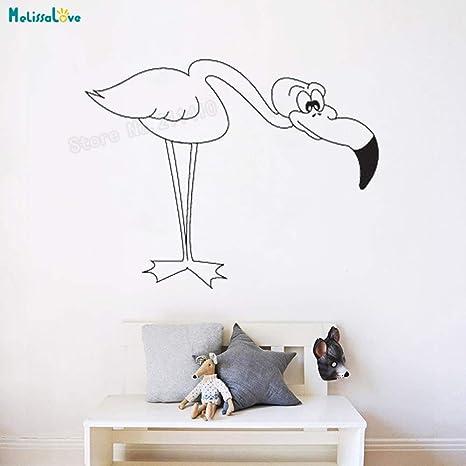 zhuziji Vinilo Pájaro Etiqueta de La Pared Flamingo doblado ...