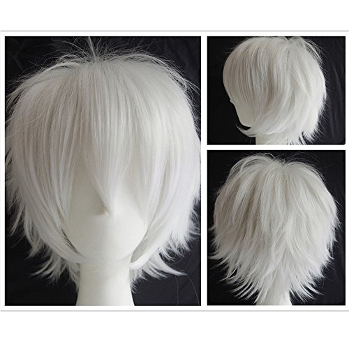 S-noilite Unisex Cosplay Full Hair Wigs Short Fluffy Straight Women Men (Anime Party Dress Costume Heat Resistant Synthetic Wig (White) - White Costume Contacts