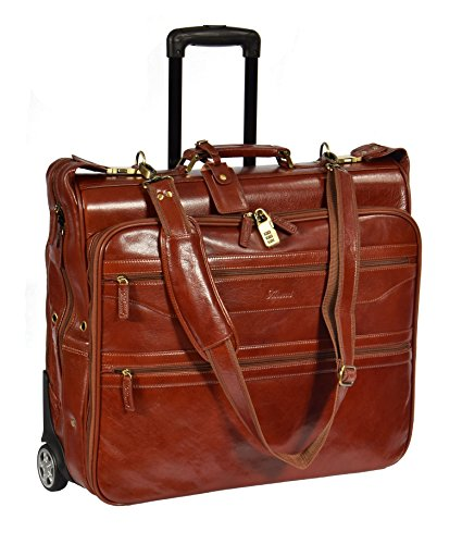 Real Leather Suit Carrier on wheels Travel Weekend Bag HOL13 Cognac by House of Leather