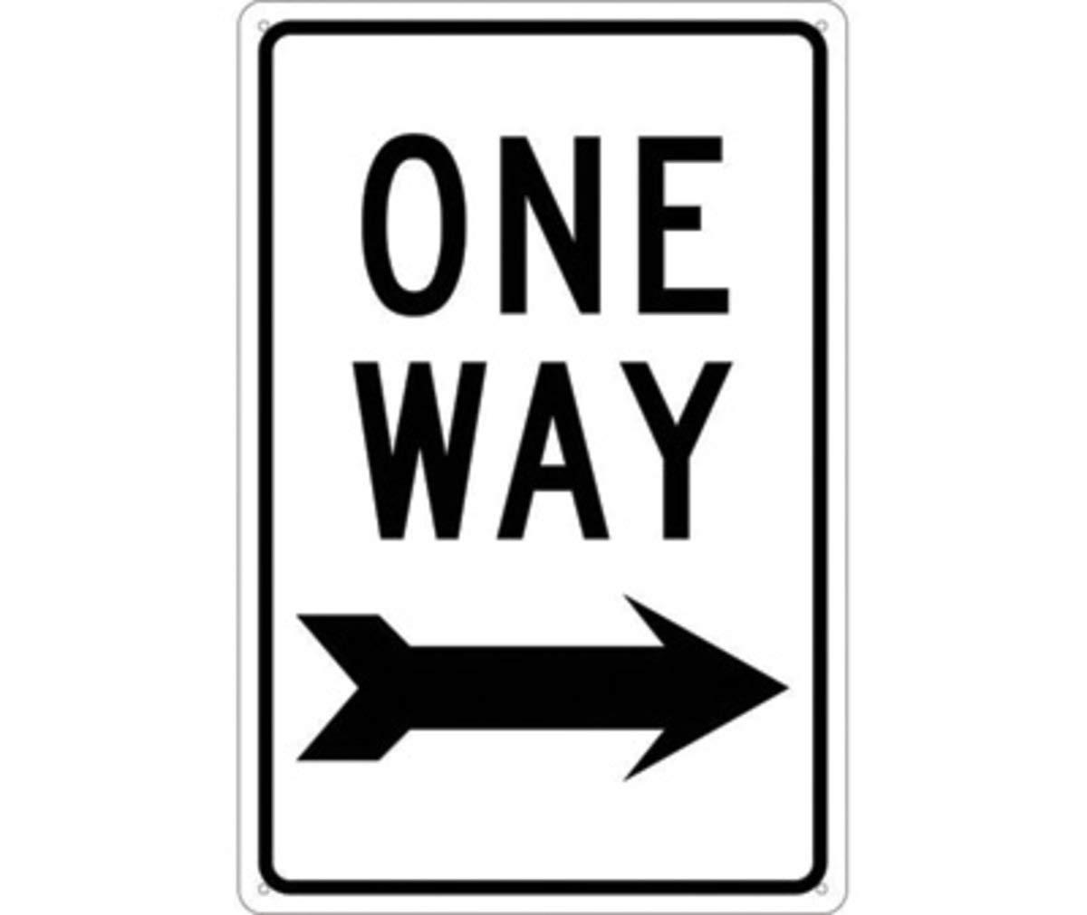 NMC 18'' X 12'' White .08'' Aluminum Parking Sign''ONE WAY''
