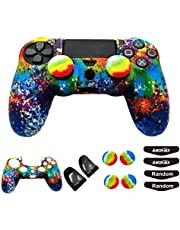 PS4 Controller Skin (1 Pair L2 R2 Trigger Extender+4 Thumb Grips+4 LED Light Bar Decal) Anti-Slip Silicone Cover Protector Sleeve Case for DualShock 4 PS4/PS4 Slim/PS4 Pro Controller (splashing graffiti)