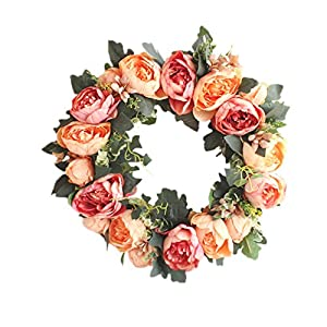Yuccer Spring Door Wreath, Summer Floral Twig Rose Handmade Artificial Flowers Garland for Front Door Home Party Decor 15 Inch 96