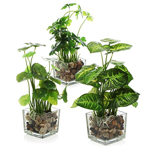 - MyGift Set of 3 Artificial Plants, Faux Tabletop Greenery w/ Clear Glass Pots
