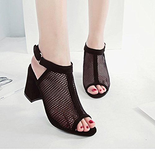 Sandals Reticulate Fashion Mouth Buckle Black Rough Ankle Ladies Women Solid Muium Shoes Hollow Fish Color Heel XUwzaFq