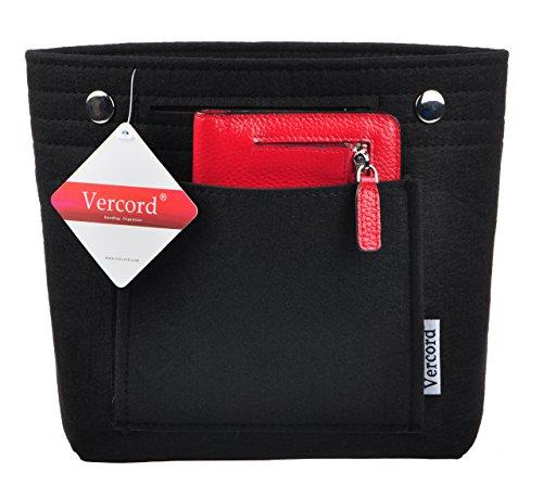 - Vercord Felt Tote Handbag Purse Pocketbook Organizer Insert Divider Shaper Bag in Bag, Mini-Black
