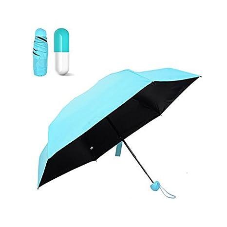YGJT Cápsula Paraguas Plegable Tela Impermeable Ligero Color Azul