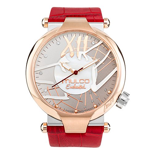 Mulco Enchanted Spider Quartz Slim Analog Swiss Movement Unisex Watch | Special Metal Insert Design Sundial with Rose Gold Accents | Red Watch Band | Water Resistant Stainless Steel Watch - Sundial Golf