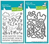 Lawn Fawn Butterfly Kisses Clear Stamp Set and Matching Lawn Cuts Die Set (LF1882, LF1883) Bundle of Two Items