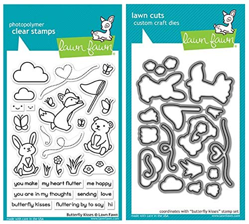 Lawn Fawn Butterfly Kisses Clear Stamp Set and Matching Lawn Cuts Die Set (LF1882, LF1883) Bundle of Two Items (Lawn Fawn Bunnies)