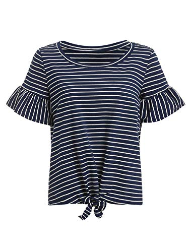 Ruffle Striped Sleeve Cotton Short Shirt - Romwe Women's Short Sleeve Tie Front Knot Casual Loose Fit Tee T-Shirt Navy L