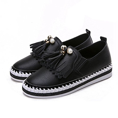 Giy Femmes Classiques Penny Mocassins Gland Plat Mocassin Bout Rond Slip-on Casual Robe Loafer Oxford Chaussures Noir