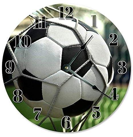 HSSS - Reloj de Pared de Madera con diseño de balón de fútbol, 30 ...