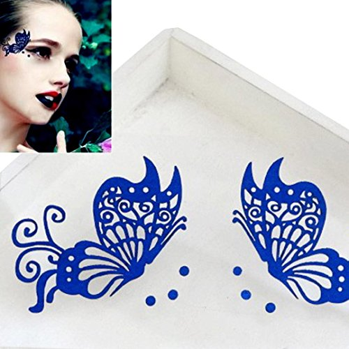 Hunputa Eye Tattoo Temporary Transfer Sticker Reusable Eye Liner Stickers Eyeshadow Tattoo Party Butterfly Stickers on Face (Blue) (Butterfly Makeup)