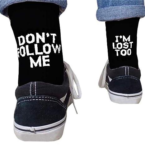 Xuniu Unisex Carta Estampado Algodón Calcetines Largos Mensaje Hip Hop Skateboard