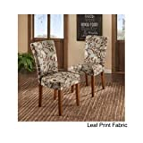 Modern Wood Fabric Upholstered Dining Chair Color Options (Set of 2) Includes Scented Candle Tarts (leaf print fabric)