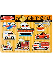 Melissa & Doug Vehicles Sound Puzzle, Wooden Peg Puzzle with Sound Effects (8 Pieces)