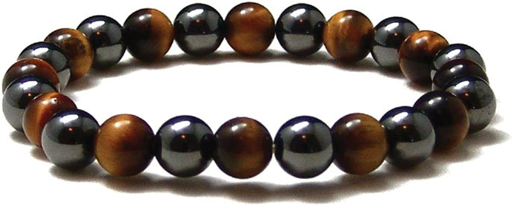 KIOMOY Stainless Steel Fashion Jewelry Natural Tiger Eye Obsidian Mens//Womens Bracelet 10 mm Bead String