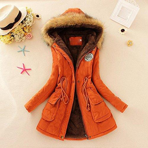 Outwear Warm Jacket huichang Orange Coat Winter Collar Parka Slim Womens Long Hooded vBaqnxO1a