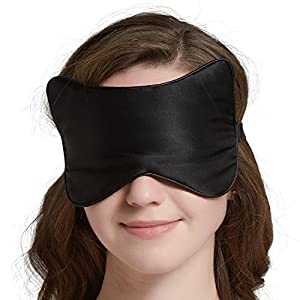 SLIPING Unique Cat Face Natural Silk Sleep Mask & Blindfold,Lightweight,Super-Smooth and Super-Soft Deep Sleeping Aid Eye Mask for Night,Nap,Travel,Yoga,Adjustable Strap for Men,Women or Kids(Black)